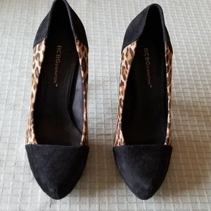 BCBG Black and Leopard Print Heels, Size: 7B